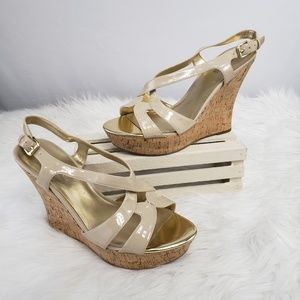 Guess Beige Nude Strappy Wedge Slingback Sandals